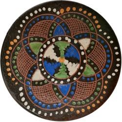 Ručne vyškrabávaný a maľovaný tanierik, J. Parikrupa, Pozdišovská keramika