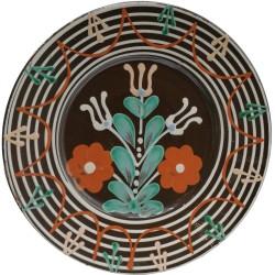 Tanier s ústredným motívom dvoch červených kvetov, Pozdišovská keramika, Československo