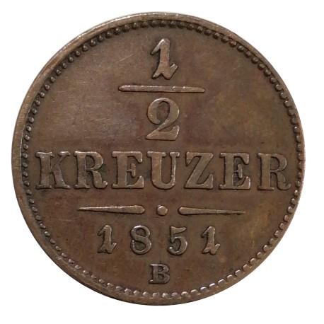 1/2 Kr 1851 B - František Jozef I. Rakúsko Uhorsko