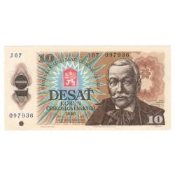 10 Kčs 1986, J 07, bankovka, Československo, UNC