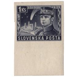 NZ 36a N 1 Ks modrofialová, 1939 M. R. Štefánik, známka s dolným okrajom, overená GILBERT, **, Slovenský štát