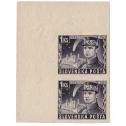 NZ 36 N 1 Ks fialová, 1939 M. R. Štefánik, zvislá dvojpáska s ľavým horným rohom, *, Slovenský štát