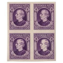 """N 28 30 h fialová, 1939 Andrej Hlinka II, 4 blok, DCH ZP 144/1 """"biela hlava"""", ** a obtlač, Slovenský štát"""