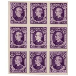 """N 28 30 h fialová, 1939 Andrej Hlinka II, 9 blok, uprostred DCH ZP 144/1 """"biela hlava"""", **, Slovenský štát"""