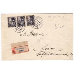 4. V. 1939 Bratislava, zvislá trojpáska 1 Ks M. R. Štefánik, doporučene, podací lístok, Slovenský štát