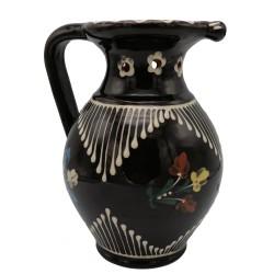 Špásový džbán s motívom kvetov na víno, Pozdišovská keramika, Československo