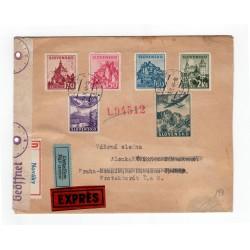 13. X. 1941 Nováky, LIETADLOM, doporučene, EXPRÉS, cenzúra, celistvosť, Slovenský štát