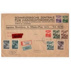13. II. 1941 Bratislava, LIETADLOM, doporučene, EXPRÉS, celistvosť, Slovenský štát