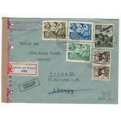 30. XI. 1942 Brezno nad Hronom, LIETADLOM, doporučene, cenzúra, celistvosť, Slovenský štát