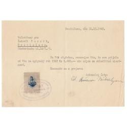 31. XII. 1942 - 1 Ks kolok, II. emisia 1942, dokument, Slovenský štát