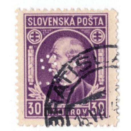 ST - PERFIN na známke 30 h, Bratia Stollwerckové, akciová spol., čokoláda a cukrovinky, Bratislava, Slovenský štát