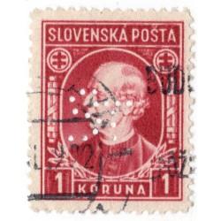 ST - PERFIN na známke 1 Ks, Bratia Stollwerckové, akciová spol., čokoláda a cukrovinky, Bratislava, Slovenský štát