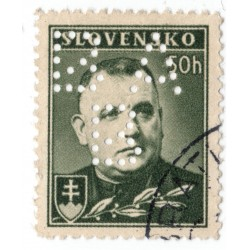 BA/B - PERFIN na známke 50 h, Bratislavská všeobecná banka, Slovenský štát