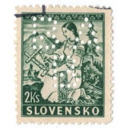 BA/B - PERFIN na známke 2 Ks, Bratislavská všeobecná banka, Slovenský štát