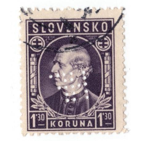 HF - PERFIN na známke 1,30 Ks, Henrika Francka synovia, úč. spol., kávoviny, Sereď, Slovenský štát