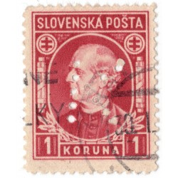 K - PERFIN na známke 1 Ks, Michael Kann, mechanická pradiareň konopia, povraznícky tovar, Bratislava, Slovenský štát
