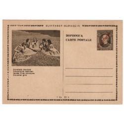 CDV 81/20 - Slovenské dievčatá, 1945 strojová pretlač ČESKOSLOVENSKO, Andrej Hlinka, celina, jednoduchý obrazový poštový lístok