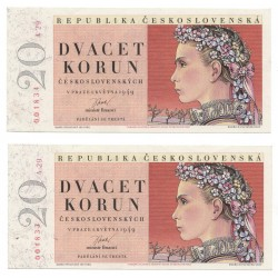 20 Kčs 1949 A 29, 2 kusy sériové čísla po sebe, Československo, AU
