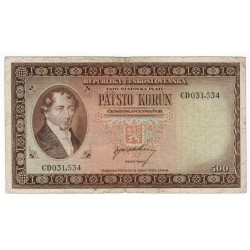 500 Kčs 1945, CE, Londýnska emisia, bankovka, Československo, VG