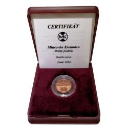5 halier 1924, replika mince, Mincovňa Kremnica, O. Španiel, 1000 kusov