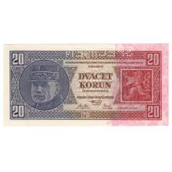 20 Kč 1926, Df, SPECIMEN z rubu bankovky, Československo, UNC