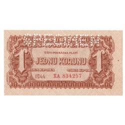 1 K 1944, XA, SPECIMEN, necentrovaný orez bankovky, Československo, UNC