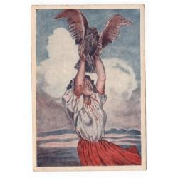 Sokolská farebná pohľadnica s motívom dievčaťa a sokola