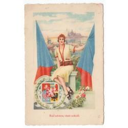 Buď zdráva, vlasti sokolů, Ad. Kӧrber, pohľadnica, Československo