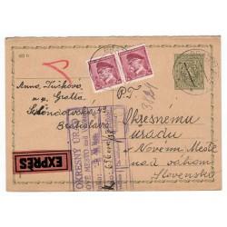 1937 CDV 66 - Stredný štátny znak, I. časť z dvojitej dopisnice, EXPRÉS, dofrankovaná, Bratislava, celina, Československo