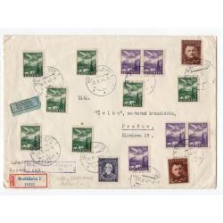 1. let BRATISLAVA - PREŠOV, 18. V. 1943, SLOVENSKÝ AUTOKLUB, doporučene, lietadlom, Slovenský štát