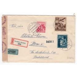 21. IV. 1944 Považská Bystrica, LIETADLOM, doporučene, cenzúra, celistvosť, Slovenský štát