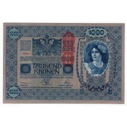 1 000 Kronen 1919 so starým dátumom 1902, pretlač Deutschӧsterreich, Rakúsko, XF