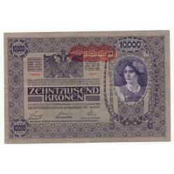 10 000 Kronen 1919 so starým dátumom 1918, pretlač Deutschӧsterreich, Rakúsko, VF