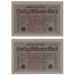50 000 000 Mark 1923, Reichsbanknote, 2 kusy sériové čísla po sebe, Nemecko, AU