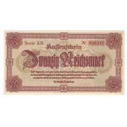 20 Reichsmark 1945 AR, Sudetenland / Sudety, Nemecko, UNC