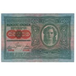 100 Kronen 1919 so starým dátumom 1912, pretlač Deutschӧsterreich, Rakúsko, VF