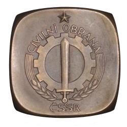 Civilní obrana ČSSR, obojstranná bronzová plaketa, Československo