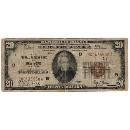 20 dollars 1929, THE FEDERAL RESERVE BANK OF NEW YORK - B, Andrew Jackson, hnedá pečať, USA, VG