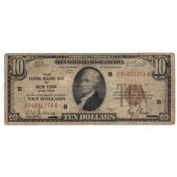 10 dollars 1929, THE FEDERAL RESERVE BANK OF NEW YORK - B, Alexander Hamilton, hnedá pečať, USA, VG