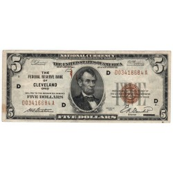 5 dollars 1929, THE FEDERAL RESERVE BANK OF CLEVELAND OHIO - D, Abraham Lincoln, hnedá pečať, USA, VG