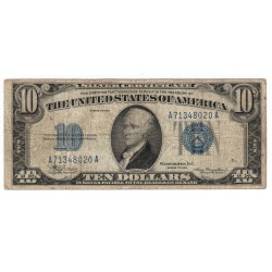 10 dollars 1934, SILVER CERTIFICATE, Alexander Hamilton, modrá pečať, USA, VG