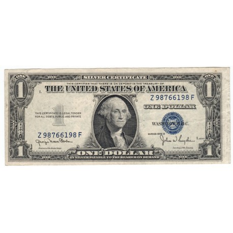 1 dollar 1935 D, Z98766198F, SILVER CERTIFICATE, George Washington, modrá pečať, USA, F