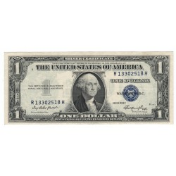 1 dollar 1935 E, R13302518H, SILVER CERTIFICATE, George Washington, modrá pečať, USA, VF