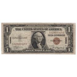 1 dollar 1935 A, S52920317C, HAWAII 1942, SILVER CERTIFICATE, George Washington, hnedá pečať, USA, VG