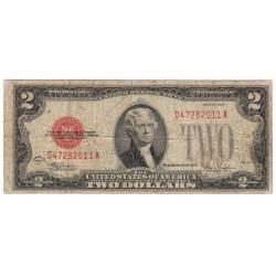 2 dollars 1928 F, Thomas Jefferson, červená pečať, USA, VG