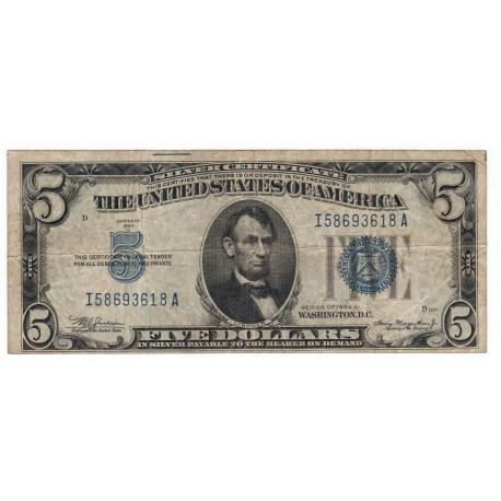 5 dollars 1934 A, SILVER CERTIFICATE, Abraham Lincoln, orezávacie značky, modrá pečať, USA, VG
