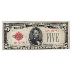 5 dollars 1928, B85753472A, Abraham Lincoln, červená pečať, USA, F