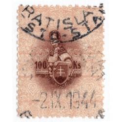 100 Ks kolok, II. emisia 1942, hnedá, svetlo okrová, Slovenský štát