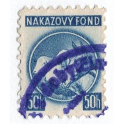 50 h - nákazový fond, modrá, zúbkovanie 10 1/4, Slovenský štát