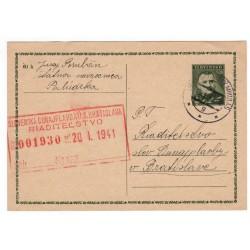 18. I. 1941 CDV 8 - Jozef Tiso, Slovenská Dunajplavba - riaditeľstvo, celina, jednoduchý poštový lístok, Slovenský štát